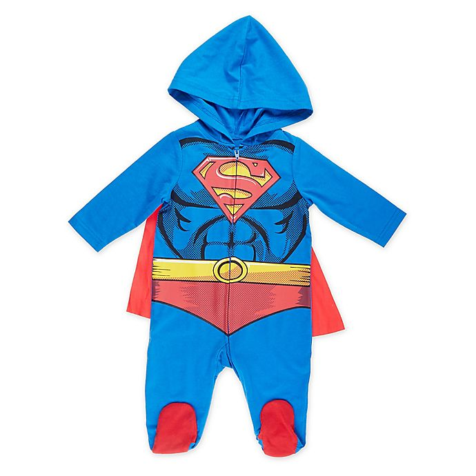 Alternate image 1 for Warner Brothers® Superman® Caped and Hooded Coverall in Blue