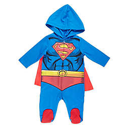 Warner Brothers® Size 6-9M Superman® Caped and Hooded Coverall in Blue