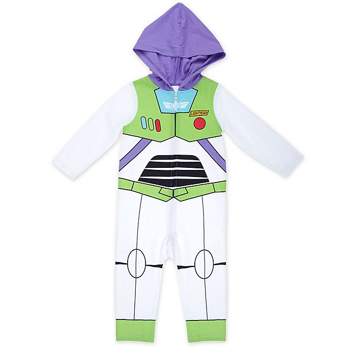 Alternate image 1 for Disney® Buzz Lightyear Hooded Coverall in White