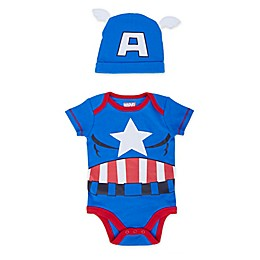 Marvel® 2-Piece Captain America Bodysuit and Hat Set in Blue
