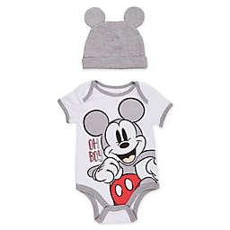 Disney® 2-Piece Mickey Bodysuit and Hat Set in White