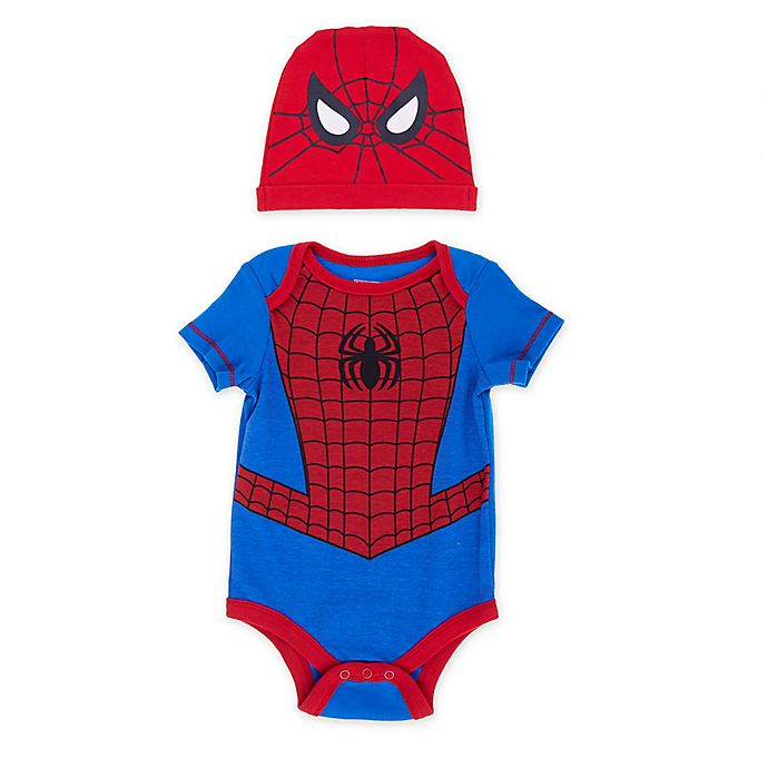 Alternate image 1 for Marvel® Size 6-9M 2-Piece Spiderman Bodysuit and Hat Set in Red