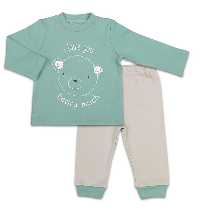 Alternate image 1 for The Peanutshell™ 2-Piece Love Beary Much Shirt and Pant Set in Teal/Grey