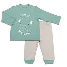 The Peanutshell™ 2-Piece Love Beary Much Shirt and Pant Set in Teal/Grey
