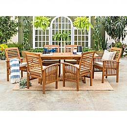Forest Gate Eagleton 7-Piece Acacia Patio Dining Set with Cushions