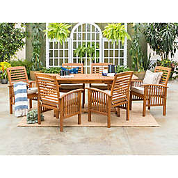 Forest Gate Eagleton Patio 7-Piece Acacia Wood Dining Set with Beige Cushions