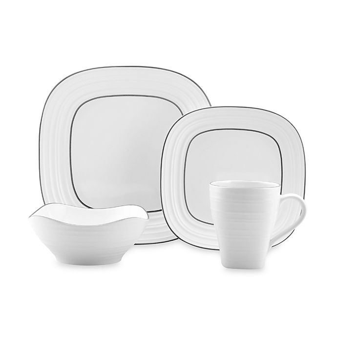 Alternate image 1 for Mikasa® Swirl Square Banded White 4-Piece Place Setting