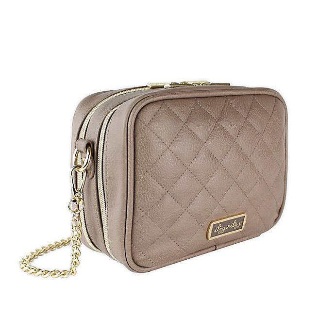 Alternate image 1 for Itzy Ritzy® Crossbody Diaper Bag in Taupe