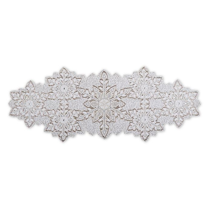 Beaded Snowflake 36 Inch Table Runner Centerpiece In White