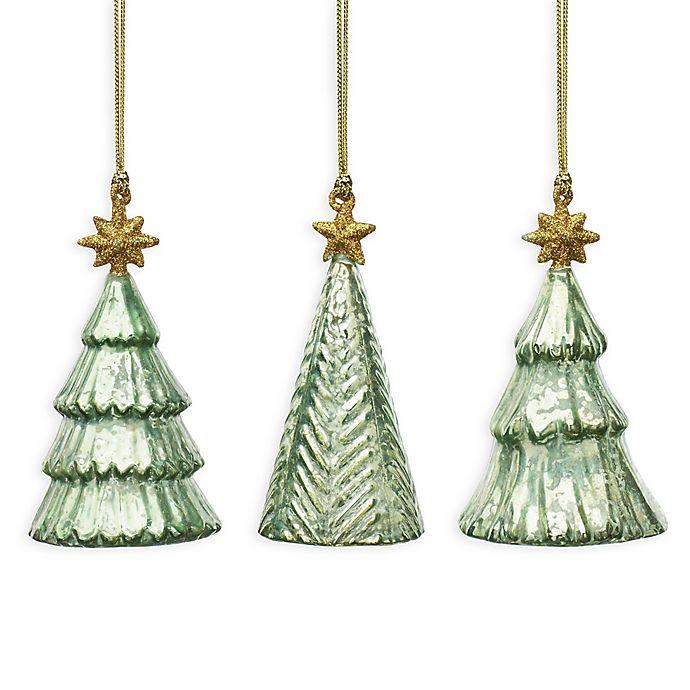Lenox Mercury Glass Tree Ornaments Set Of 3 Bed Bath Beyond
