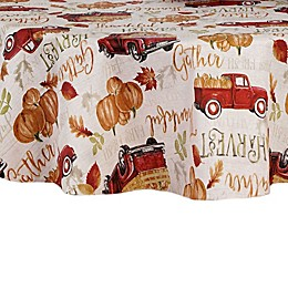 Harvest Truck Vinyl 70-Inch Round Tablecloth