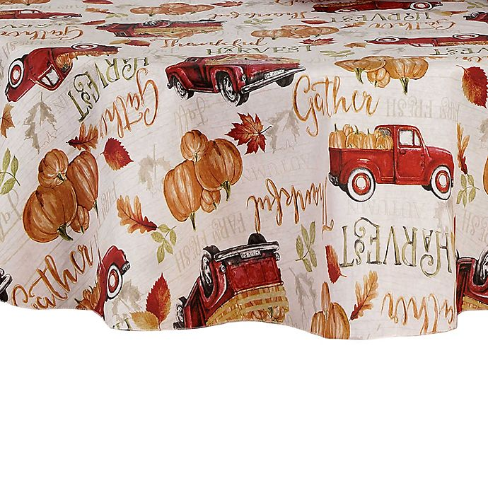 Alternate image 1 for Harvest Truck Vinyl 70-Inch Round Tablecloth