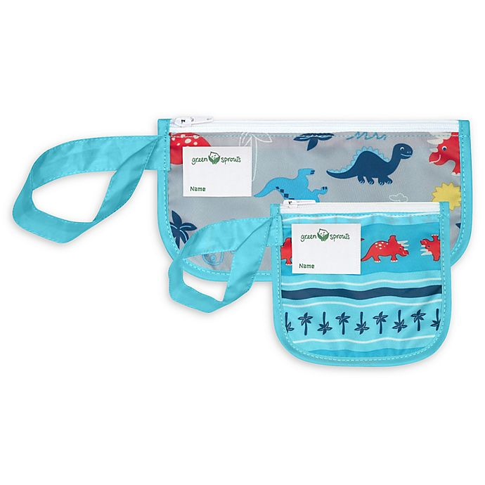 Alternate image 1 for Green Sprouts® 2-Pack Dinosaur Reusable Snack Bags in Aqua