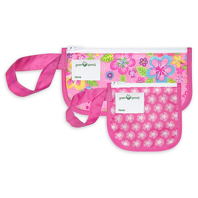 Alternate image 1 for Green Sprouts® 2-Pack Floral Reusable Snack Bags in Pink