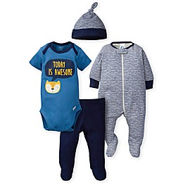 Gerber® Preemie 4-Piece Fox Bodysuit, Footie, Pant, and Cap Set in Blue