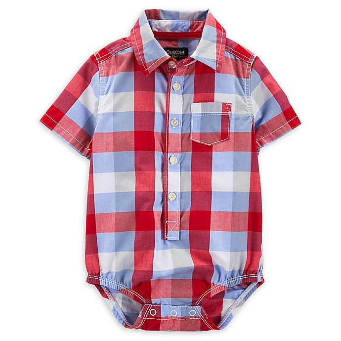 Alternate image 1 for OshKosh B'gosh® Plaid Bodysuit in Red/Blue