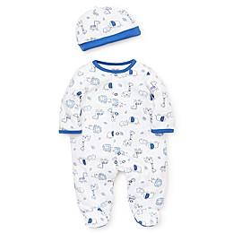 Little Me® Newborn Safari Footie and Hat Set in Blue