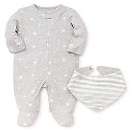 Little Me® Preemie 2-Piece Stars Footie and Bandana Bib Set in Heather Grey