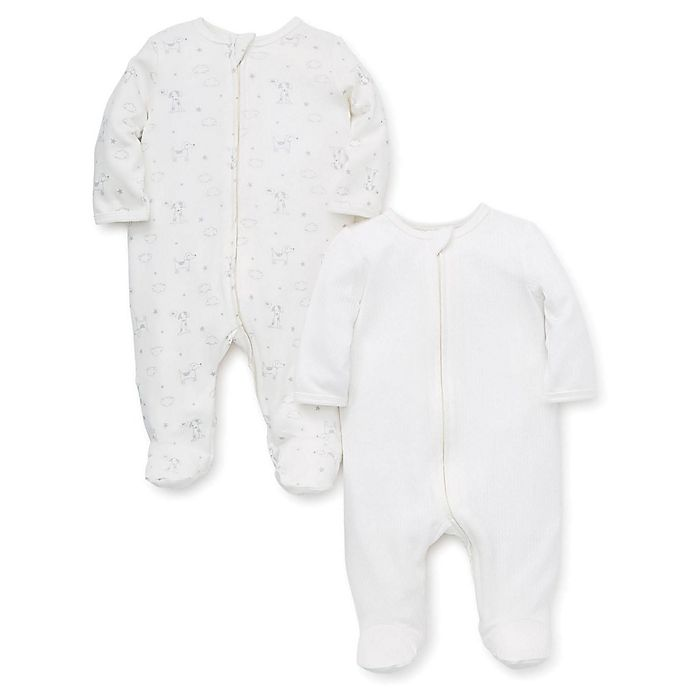 Alternate image 1 for Little Me® 2-Pack Dogs Footies in Ivory