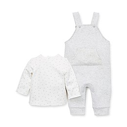 Little Me® 2-Piece Quilted Overall and Long Sleeve Top Set in Grey