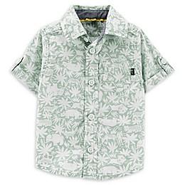 OshKosh B'gosh® Safari Button-Front Shirt in Sage/White
