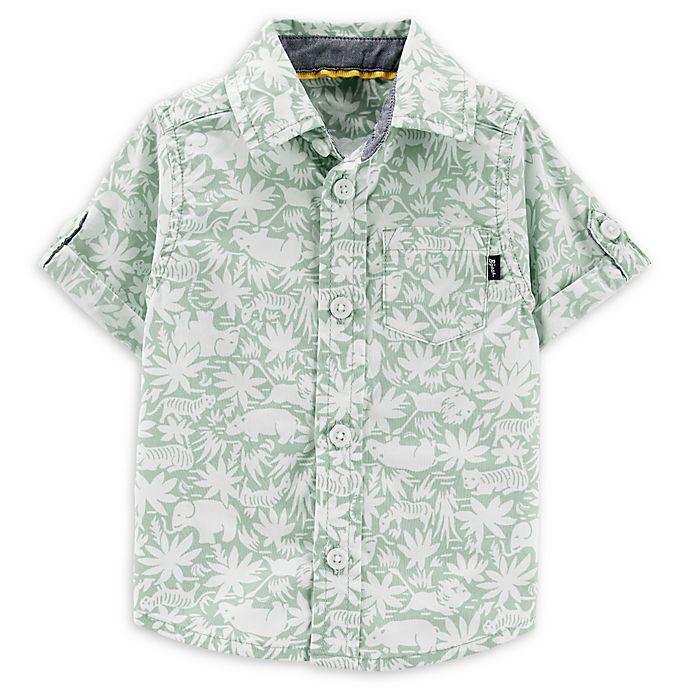 Alternate image 1 for OshKosh B'gosh® Safari Button-Front Shirt in Sage/White