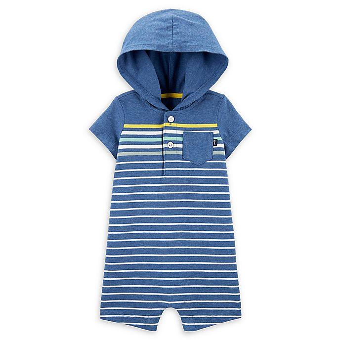 Alternate image 1 for OshKosh B'gosh® Hooded Romper in Blue