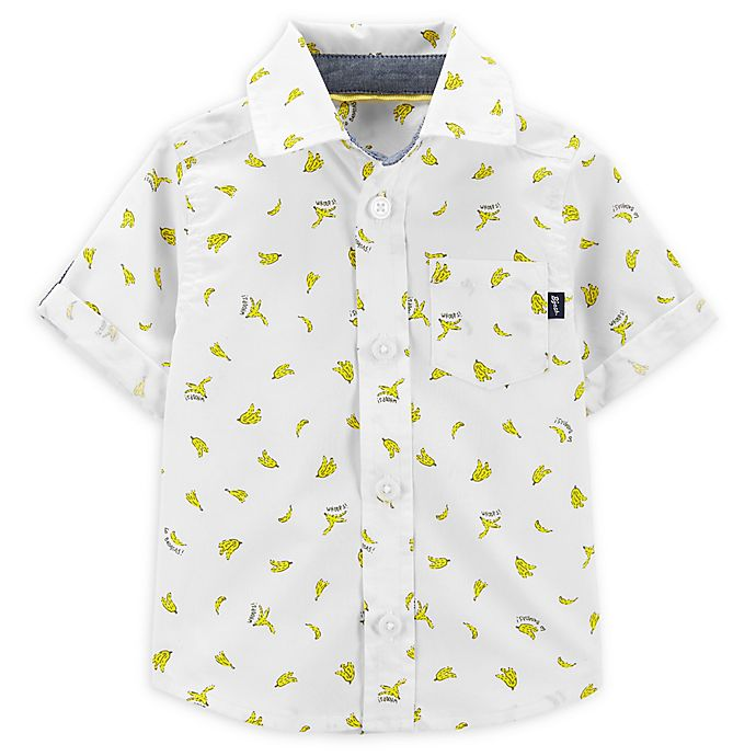 Alternate image 1 for OshKosh B'gosh® Banana Button-Front Shirt in Ivory