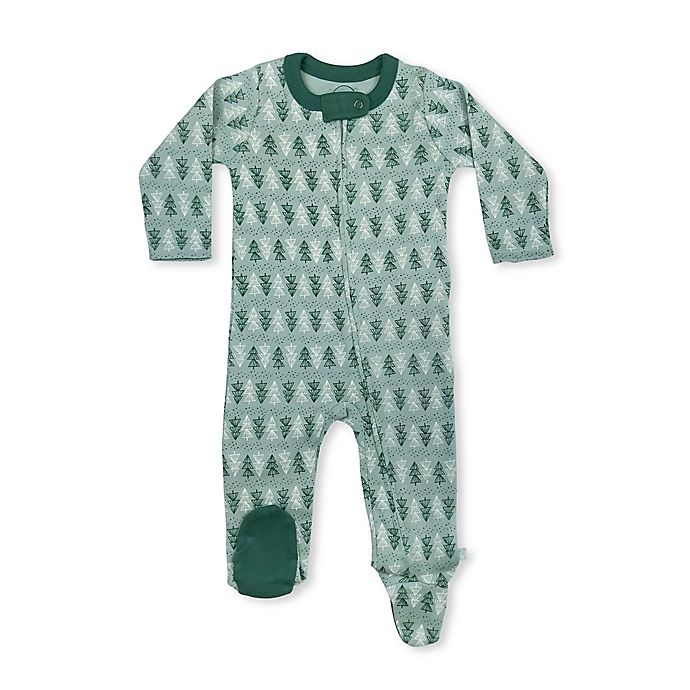 Alternate image 1 for Finn by Finn + Emma® Green Trees Organic Cotton Footie