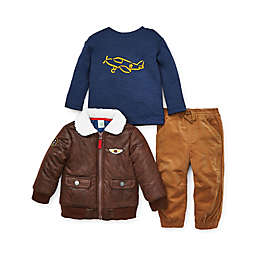 Little Me® 3-Piece Aviator Jacket, Shirt, and Pant Set in Tan