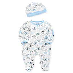 Little Me® Size 9M 2-Piece Blue Elephant Footie and Hat Set