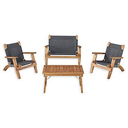 Linon Home 4-Piece Kids Patio Furniture Set in Brown
