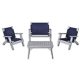 Linon Home 4-Piece Kids Patio Furniture Set in Grey