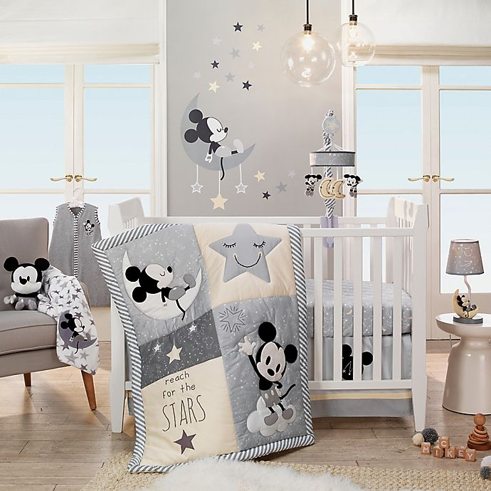 Alternate image 1 for Lambs & Ivy® Disney® Mickey Mouse 4-Piece Crib Bedding Set in Grey/White