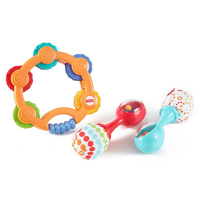 Alternate image 1 for Fisher-Price® 3-Piece Tambourine and Maracas Gift Set