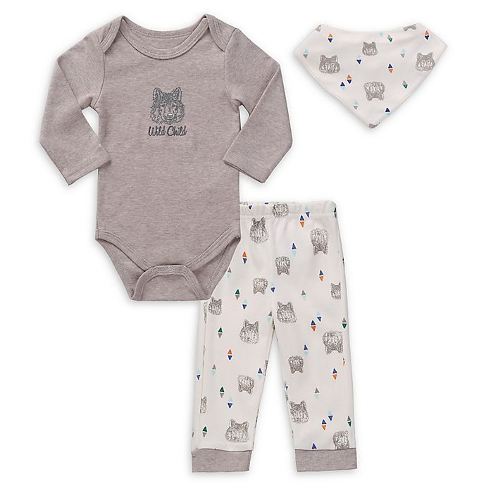 Alternate image 1 for asher and olivia® 3-Piece Wild Child Bodysuit, Legging, and Bib Set in Grey