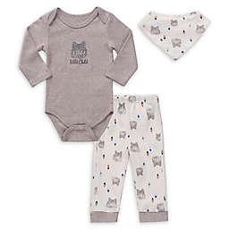 asher and olivia® 3-Piece Wild Child Bodysuit, Legging, and Bib Set in Grey