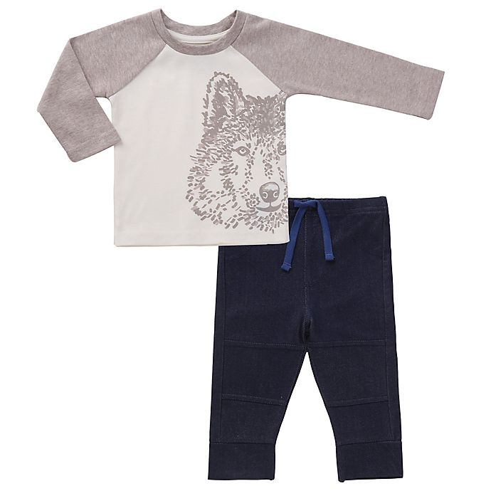 Alternate image 1 for asher and olivia® 2-Piece Wolf Long Sleeve Top and Jogger Set in White