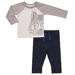 asher and olivia® 2-Piece Wolf Long Sleeve Top and Jogger Set in White