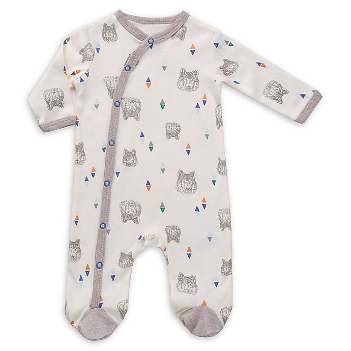 Alternate image 1 for asher and olivia® Wolf Geo Footie in White