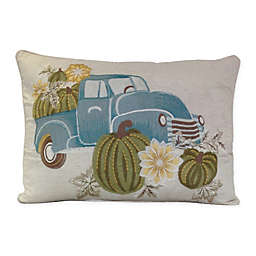 Harvest Truck Embroidered Oblong Throw Pillow in Natural/Blue