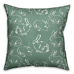 Designs Direct Bunny Pattern Square Throw Pillow in Green