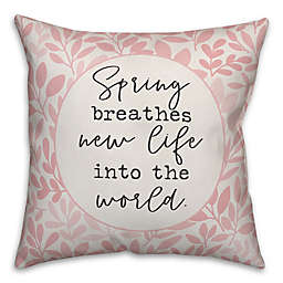 Designs Direct Spring Breathes New Life Square Throw Pillow in Pink