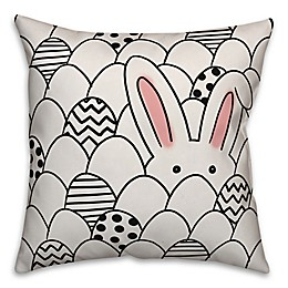 Designs Direct Egg Hunt Bunny Square Throw Pillow in White