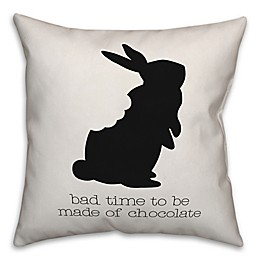 Designs Direct Chocolate Bunny Square Throw Pillow in Black