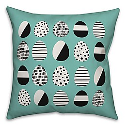 Designs Direct Retro Easter Egg Pattern Throw Pillow in Blue