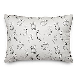 Designs Direct Sketch Bunny Pattern Throw Pillow in White