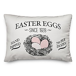 Designs Direct Vintage Easter Eggs Throw Pillow in White