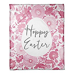 "Designs Direct Floral Egg ""Hoppy Easter"" Throw Blanket in Pink"