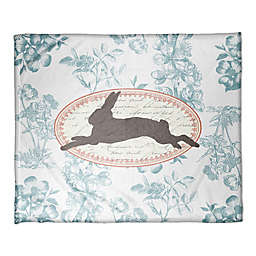 Designs Direct Floral Rabbit Throw Blanket in Blue
